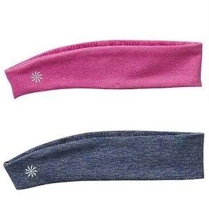 Athleta 2 New Spacedye Vital Headbands Pink Blue